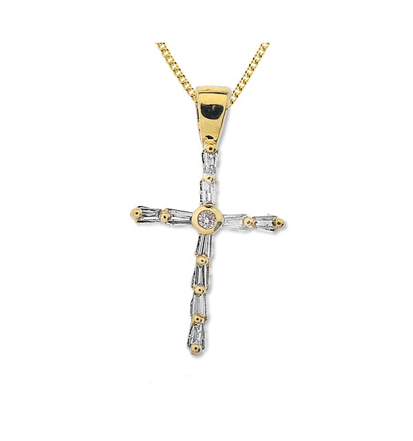 9K Gold Baguette Diamond Cross Pendant (0.25ct) - image 1