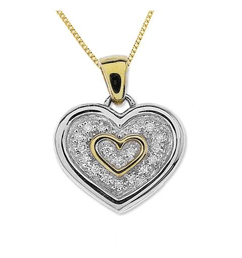 9K Two Tone Diamond Double Heart Pendant (0..20ct) - image 1