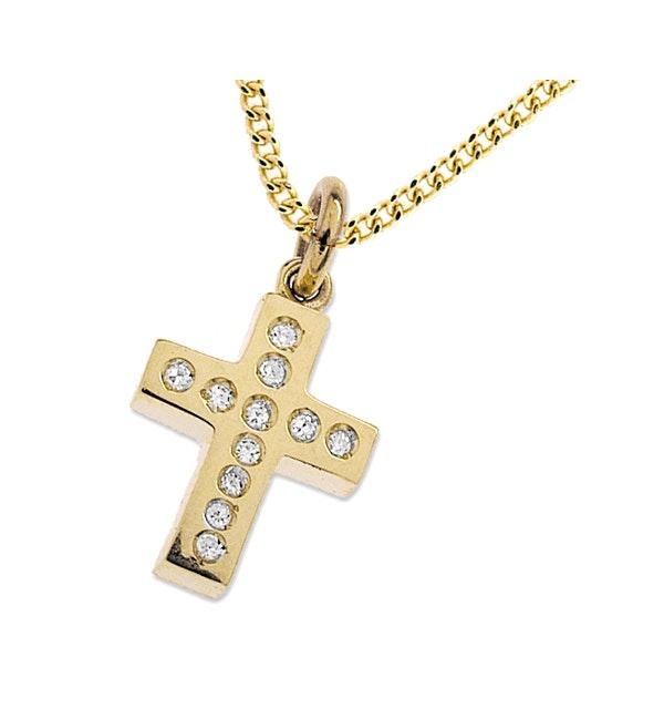 10mm x 14mm 9K Gold Diamond Cross - image 1