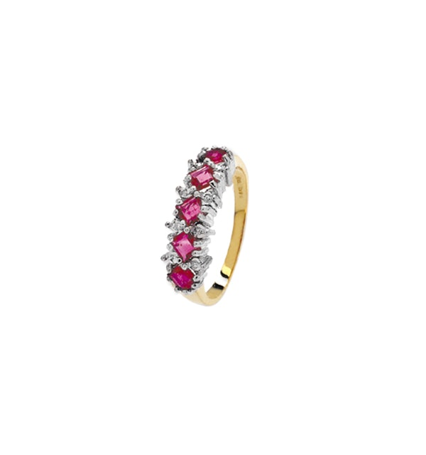 Diamond and Ruby 9K Gold Ring - RTC-A3313 - image 1