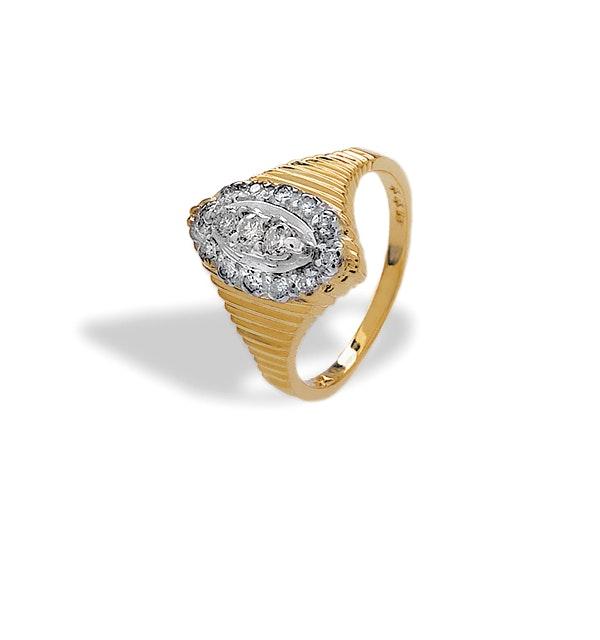9K Gold Diamond Design Ring (0.25ct) - image 1