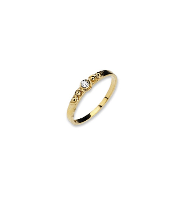 9K Gold Diamond Ring with Bow Detail - image 1