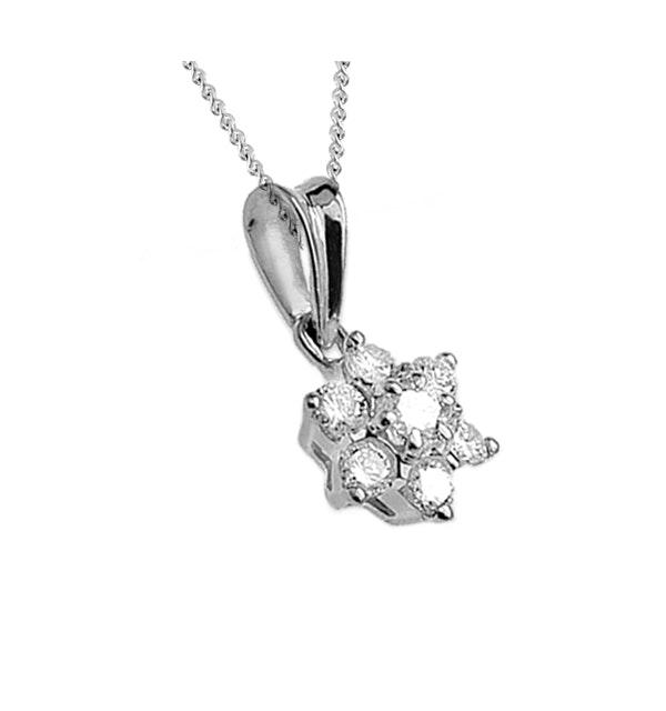 Diamond 0.21ct Platinum Cluster Pendant - RTC-T3233 - image 1