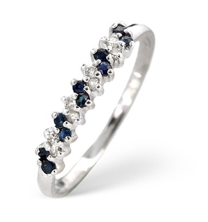 Sapphire 0.18ct And Diamond 9K White Gold Ring  A3918