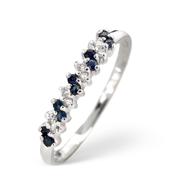 Sapphire 0.18ct And Diamond 9K White Gold Ring  A3918 - image 1