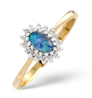 Opal Triplet And 0.05CT Diamond Ring 9K Yellow Gold