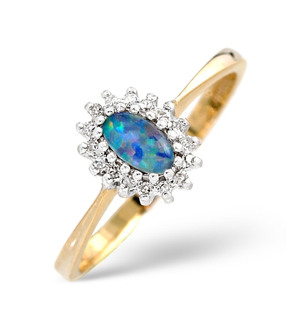 Opal Triplet And 0.05CT Diamond Ring 9K Yellow Gold - image 1