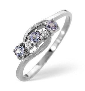 Tanzanite 0.21CT And Diamond 9K White Gold Ring