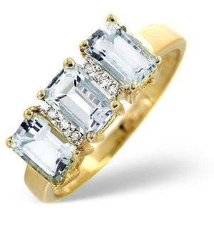 Aquamarine 1.65CT And Diamond 9K Yellow Gold Ring