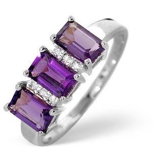 Amethyst 1.50ct And Diamond 9K White Gold Ring