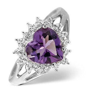 Amethyst 1.65ct And Diamond 9K White Gold Ring