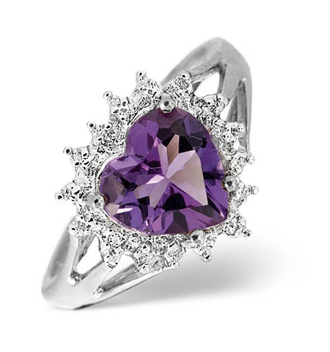 Amethyst 1.65ct And Diamond 9K White Gold Ring - image 1