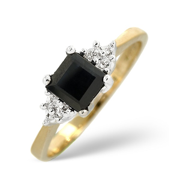 Sapphire 5 x 5mm And Diamond 9K Gold Ring - image 1