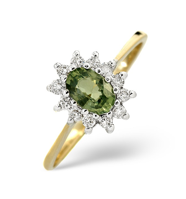 Green Sapphire 6 x 4mm And Diamond 9K Yellow Gold Ring - image 1