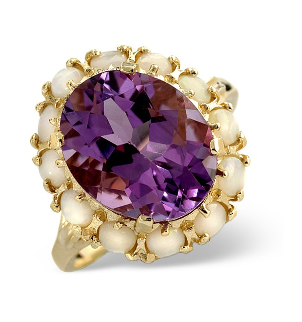 Amethyst 12 x 10mm And Opal 9K Gold Ring - image 1