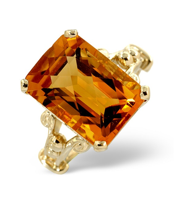 Citrine 14 x 10mm And 9K Gold Ring - image 1