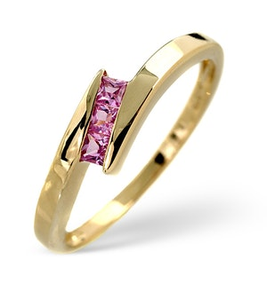 Pink Sapphire Ring Pink Sapphire 9K Yellow Gold