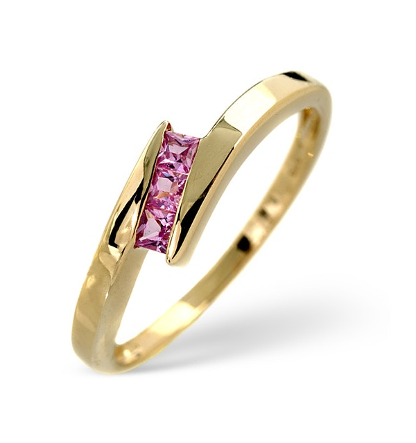 Pink Sapphire Ring Pink Sapphire 9K Yellow Gold - image 1