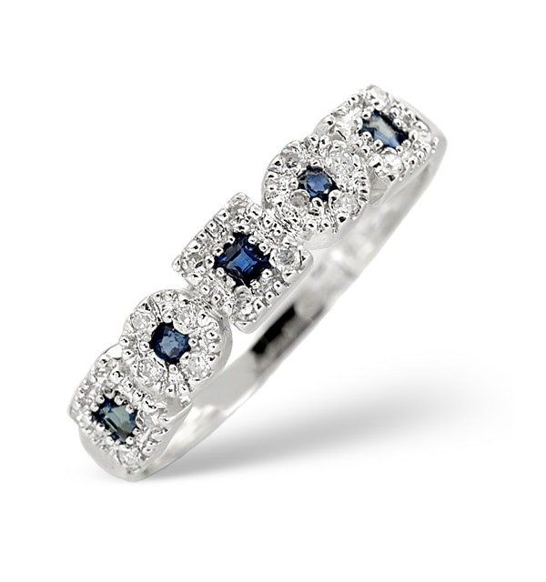 Sapphire 0.18ct And Diamond 9K White Gold Ring - image 1