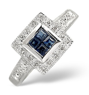 Sapphire 0.32ct And Diamond Ring 18K White Gold