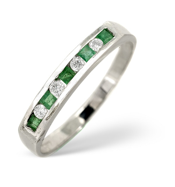 Emerald 0.15ct And Diamond 9K White Gold Ring - image 1