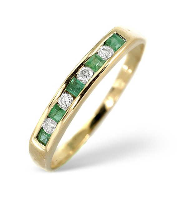 Emerald 0.15ct And Diamond 9K Gold Ring - image 1