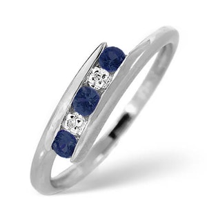 9K White Gold Diamond and Sapphire Ring