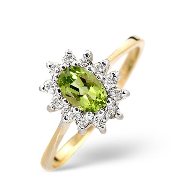 Peridot 6 x 4mm And Diamond 9K Yellow Gold Ring - image 1