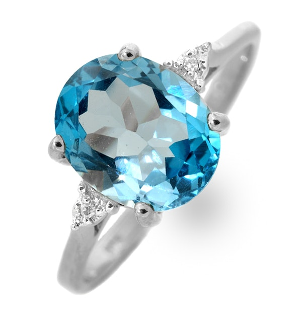 9K White Gold Diamond and 2.60ct Blue Topaz Ring - image 1