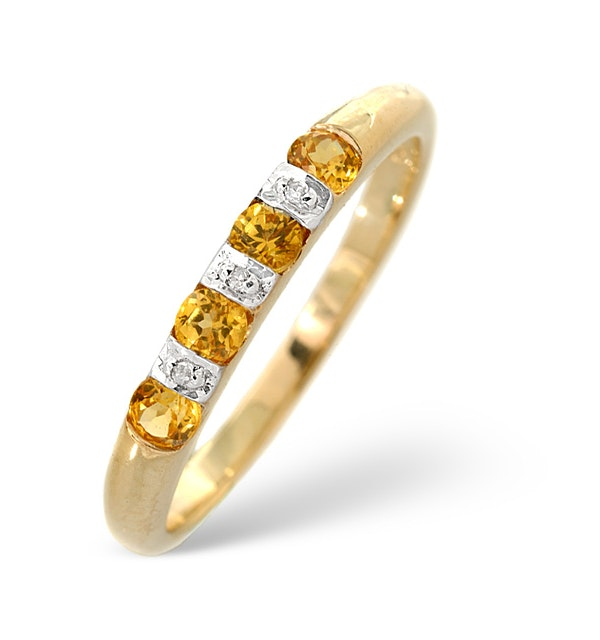 Yellow Sapphire And 0.01CT Diamond Ring 9K Yellow Gold - image 1