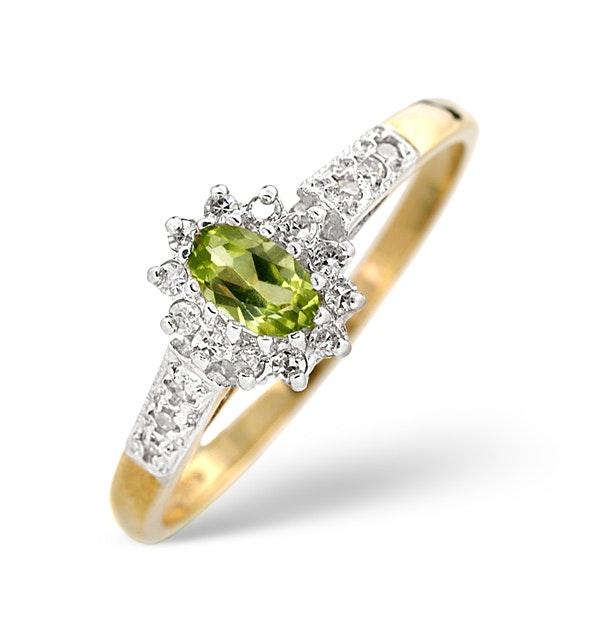 Peridot 5 x 3mm And Diamond 9K Yellow Gold Ring  A4213 - image 1