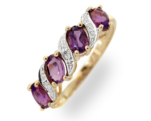 Yellow Gold Amethyst Rings