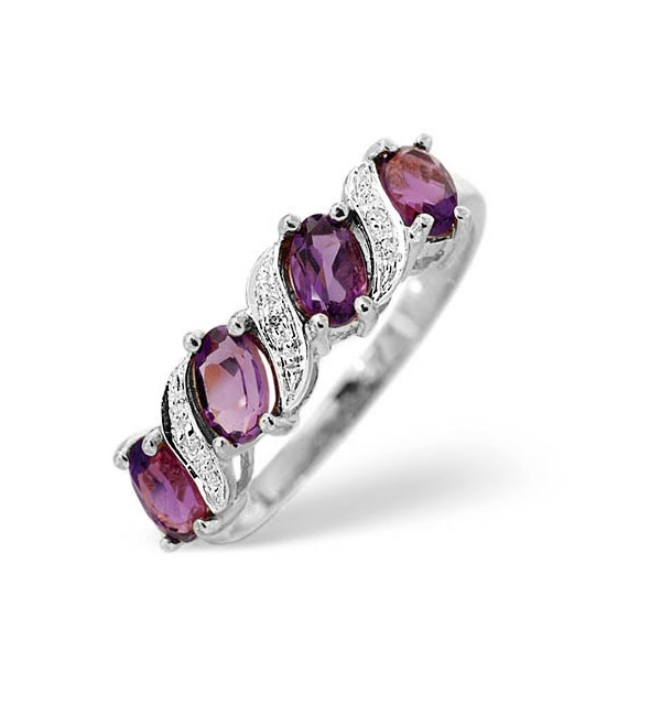 Amethyst 0.74ct And Diamond 9K White Gold Ring - image 1