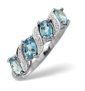 Blue Topaz 0.98CT And Diamond 9K White Gold Ring