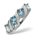 Blue Topaz 0.98CT And Diamond 9K White Gold Ring - image 1