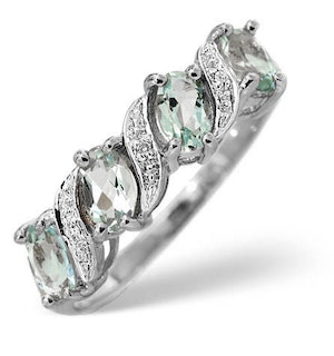 Aquamarine and Diamond 9K White Gold Ring 0.01ct