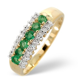Emerald 0.38ct And Diamond 9K Gold Ring