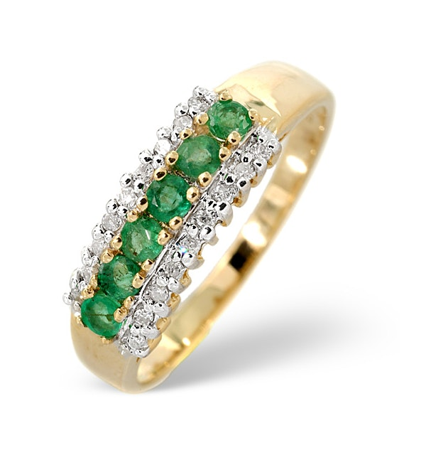 Emerald 0.38ct And Diamond 9K Gold Ring - image 1