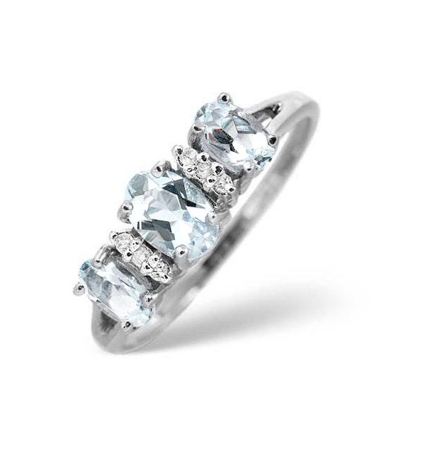 Aquamarine 0.80CT And Diamond 9K White Gold Ring - image 1