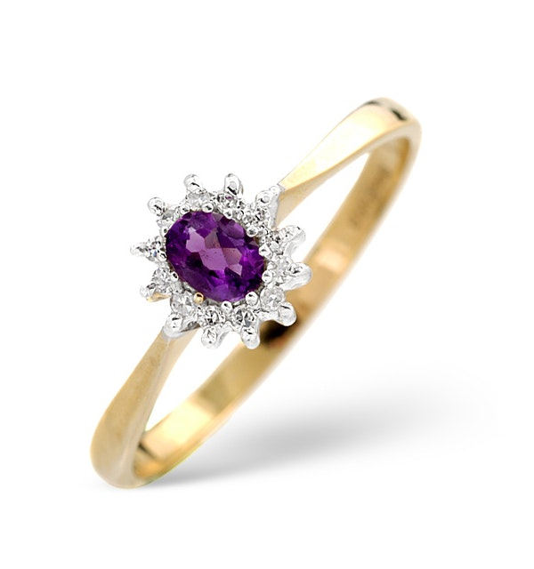 Amethsyt 0.15ct And Diamond 9K Gold Ring - image 1