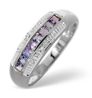 Tanzanite 0.37CT And Diamond 9K White Gold Ring