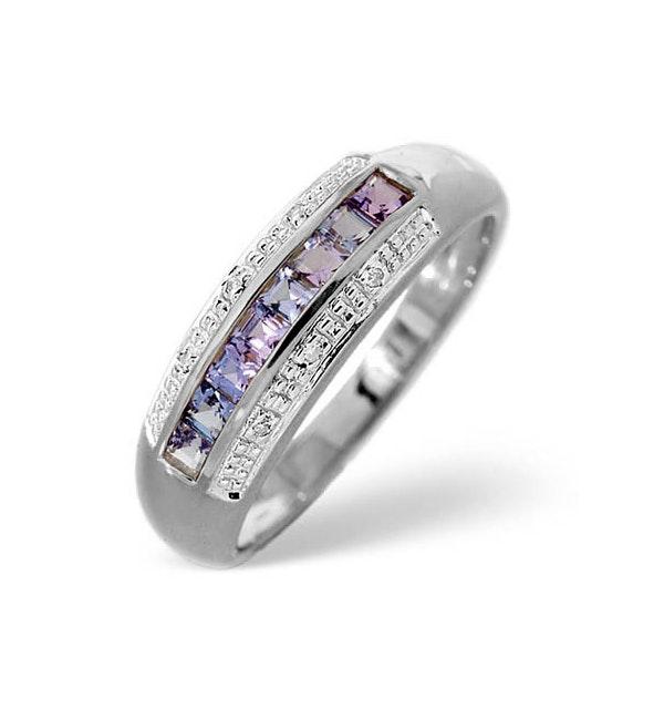 Tanzanite 0.37CT And Diamond 9K White Gold Ring - image 1