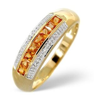 Yellow Sapphire 0.37ct and Diamond 0.19ct 9K Gold Ring - RTC-E5320
