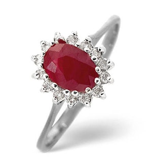Ruby 0.95ct And Diamond 9K White Gold Ring