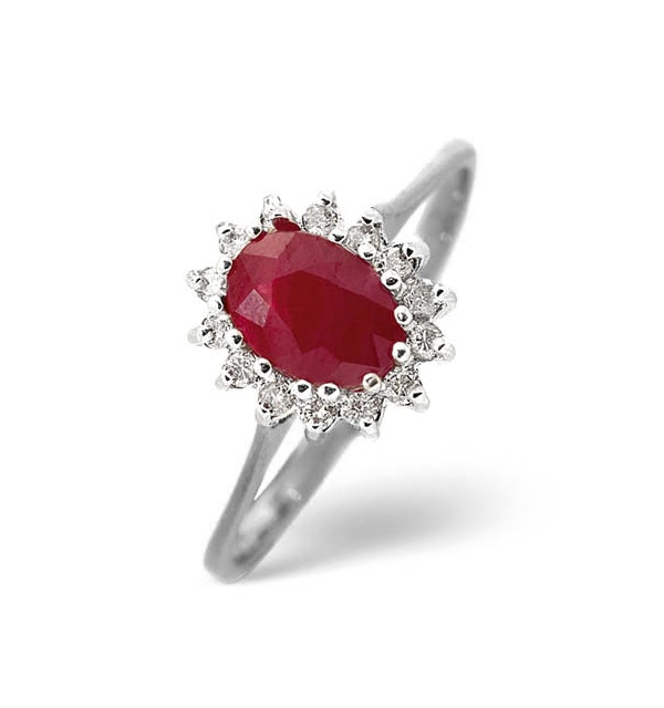 Ruby 0.95ct And Diamond 9K White Gold Ring - image 1