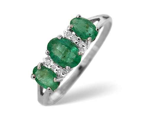 3 Stone Emerald Rings