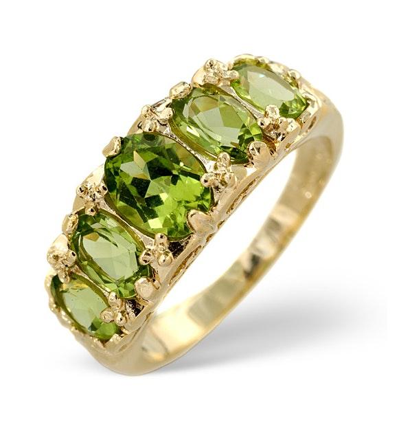 Peridot 2.72CT 9K Yellow Gold Ring - image 1