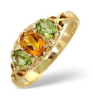 Golden Citrine And Peridot 9K Yellow Gold Ring