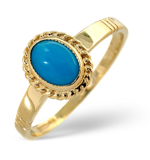 Turquoise 0.56CT 9K Yellow Gold Ring - image 1