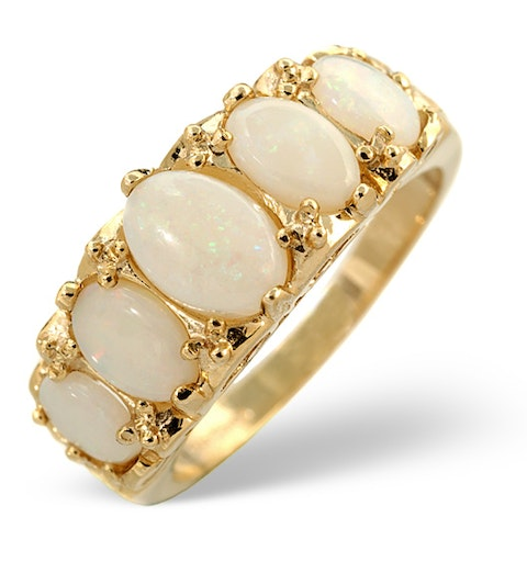 Opal 1.29CT 9K Yellow Gold Ring - image 1